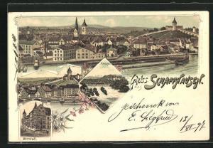 Lithographie Schaffhausen, Gesamtansicht, Rheinfall, Oberstadt