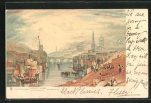 Lithographie Newcastle-on-Tyne, Teilansicht