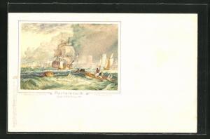 Künstler-AK Portsmouth, Teilansicht mti Booten