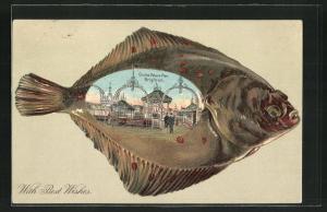 Passepartout-Lithographie Brighton, on the Palace Pier, Motiv in einem Fischbauch