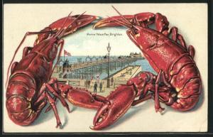 Passepartout-Lithographie Brighton, Marine Palace Pier, Rahmen mit Lobstern