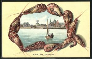 Passepartout-Lithographie Southport, North Lake, Rahmen mit Schalentieren