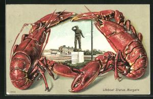 Passepartout-Lithographie Margate, Lifeboat Statue im Lobster-Rahmen