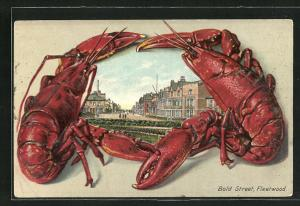 Passepartout-Lithographie Fleetwood, Bold Street im Lobster-Rahmen