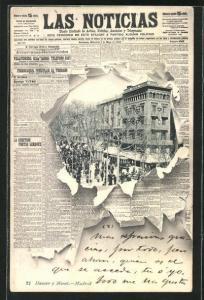 AK Barcelona, Strassenpartie, Strassenbahn, Zeitung