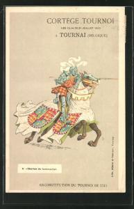 AK Tournai, Ritter auf einem Pferd, Cortège Tournoi 1913