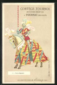 AK Tournai, Ritter auf einem Pferd mit Lanze, Cortège Tournoi 1913