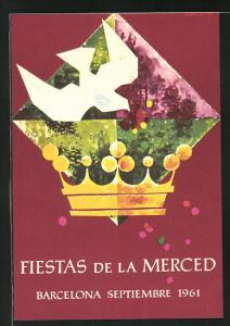 AK Barcelona, Fiestas de la Merced 1961, Krone, weisse Taube