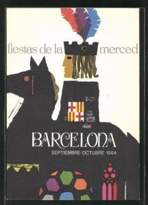 AK Barcelona, fiestas de la merced 1964, Reiter auf seinem Pferd