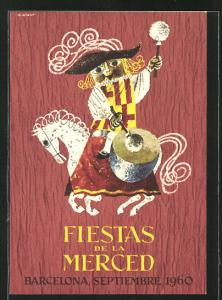 AK Barcelona, fiestas de la merced 1960, Reiter auf Pferd trommelt
