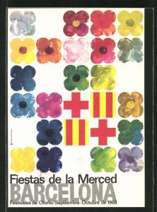 AK Barcelona, fiestas de la merced 1968, Blumen und Flagge