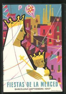 AK Barcelona, fiestas de la merced 1957, Königin mit Prinz und Herrschaftszeichen