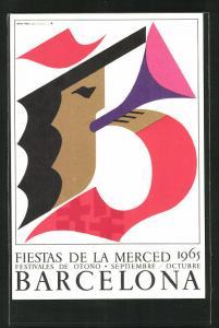 AK Barcelona, fiestas de la merced 1965, Trompeter