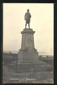 AK Whitby, Totalansicht Captain Cook`s Monument
