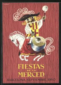 AK Barcelona, fiestas de la merced 1960, Reiter auf Pferd mit Trommel