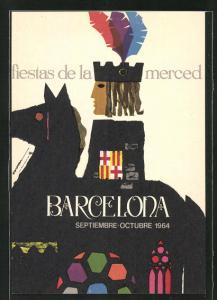AK Barcelona, fiestas de la merced 1964, Reiter auf Pferd