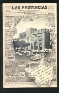 AK Valencia, Partie am Marktplatz, Zeitung
