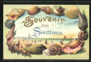 Passepartout-Lithographie Southsea, Partie am Strand, Muschel