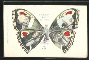 AK Han-sur-Lesse, Grottes de Han, Frau mit Schmetterlingsflügeln, Fliegende Menschen