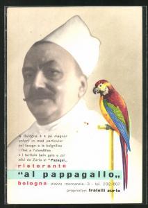 AK Bologna, Ristorante Al Pappagallo, Chefkoch udn Papagei