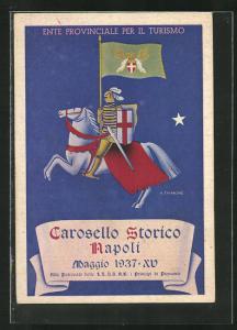 Künstler-AK Napoli, Carosello Storico Maggio 1937, Ente provinciale per il Turismo, Ritter mit Flagge