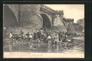 AK Dresden, Elb-Klonyke 1904, Auf der Goldsuche, Unwetter