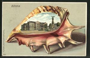 Passepartout-Lithographie Hamburg-Altona, Rathaus mit Siegesdenkmal in einer Muschel