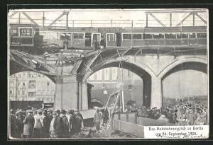 AK Berlin-Kreuzberg, Das Hochbahnunglück 1908