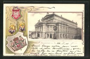 Passepartout-Präge-AK Frankfurt a. M., Opernhaus, Wappen