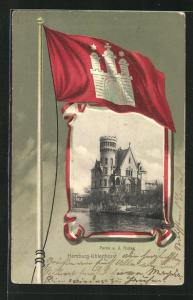 Passepartout-Lithographie Hamburg-Uhlenhorst, Partie an der Alster, Wappen
