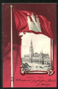 Passepartout-Lithographie Hamburg, Rathaus und Stadtwappen