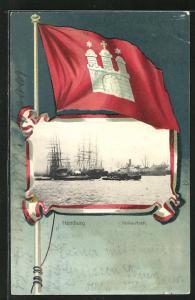 Passepartout-Lithographie Hamburg-Rothenburgsort, Wappen und Segelschiffe im Afrika-Hoeft