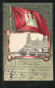 Passepartout-Lithographie Hamburg-Rothenburgsort, Neue Elbbrücke von der Veddel aus gesehen, Wappen