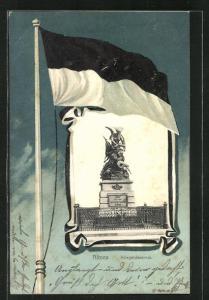 Passepartout-Lithographie Hamburg-Altona, Kriegerdenkmal und Flagge