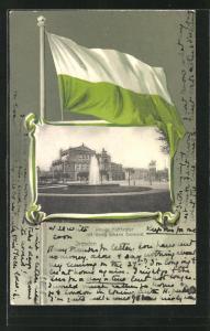 Passepartout-Lithographie Dresden, Königl. Hoftheater mit König Johann Denkmal, Flagge