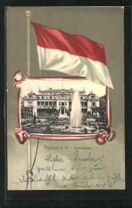 Passepartout-Lithographie Frankfurt-Westend, Cafe im Palemngarten, Flagge