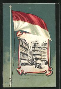 Passepartout-Lithographie Alt-Frankfurt, Blick n.d. Dom v. Römerberg aus gesehen, Flagge
