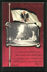 Passepartout-Lithographie Berlin-Tiergarten, Spaziergänger in der Siegesallee, Flagge