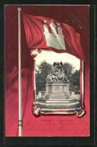 Passepartout-Lithographie Hamburg-Neustadt, Flagge mit Wappen, Kriegerdenkmal