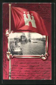 Passepartout-Lithographie Hamburg-Steinwerder, Wappen und Brandenburg`s Schiffwerft