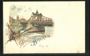 Lithographie Bremen, Idyll an der Flussbrücke