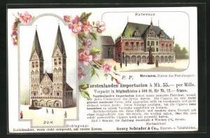 Lithographie Bremen, Rathaus und Dom