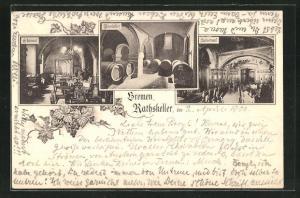 AK Bremen, Rathskeller, Echosaal, Rosekeller, Kaisersaal, Weinranken
