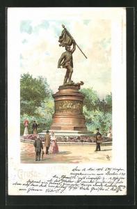 Lithographie Bremen, Partie am Kriegerdenkmal