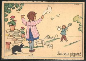 Künstler-AK sign. Jack: Mädchen winkt Jungem zum Abschied, Les deux pigeons
