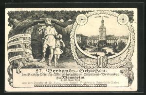 AK Mannheim, 27. Verbands-Schiessen, Parade-Platz, Wilhelm Tell mit einem Jungen