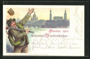 Lithographie Dresden, 13. deutsches Bundesschissen 1900, Schütze mit Gewehr und Teilansicht