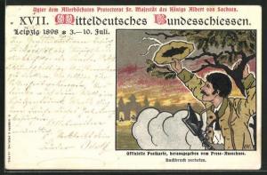 Lithographie Leipzig, XVII. Mitteldeutsches Bundesschiessen 1898, Schütze mit Gewehr, PP9C68, Ganzsache