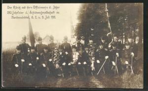 AK Hankensbüttel, 250 Jahrfeier d. Schützengesellschaft 1911, Der König mit den Offizierscorps d. Jäger