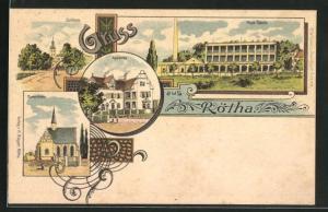Lithographie Rötha, Neue Fabrik, Apotheke, Schloss, Marienkirche